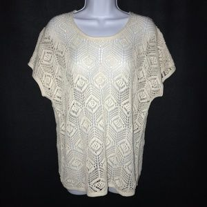 Eddie Bauer Crocheted Sweater Blouse Large